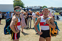 """Henley on Thames, United Kingdom, 3rd July 2018, Friday,  """"Henley Royal Regatta"""", Competitors' """"The Double Sculls Challenge Cup"""", Left, """"Paul O'DONOVAN"""" and brother, right, """"Gary O'DONOVAN"""", """"Henley Royal Regatta"""" ,Henley Reach, River Thames, Thames Valley, England, UK."""