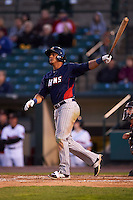 Toledo Mudhens third baseman Jefry Marte (33) hits a grand slam home run during a game against the Rochester Red Wings on May 12, 2015 at Frontier Field in Rochester, New York.  Toledo defeated Rochester 8-0.  (Mike Janes/Four Seam Images)