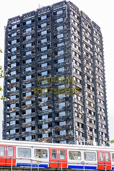 LONDON, ENGLAND - SEPTEMBER 13: The Grenfell Tower in North Kensington, September 13th, 2017 on the eve of the the opening of the public inquiry into the Grenfell fire which occurred on 14 June 2017, London, England.<br /> CAP/CAM<br /> &copy;Andre Camara/Capital Pictures