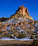 Capitol Reef National Park, UT<br /> Eph Hanks Tower stands above Capitol Wash in evening light