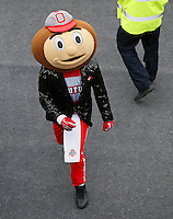 Wearing a sequin jacket, Brutus Buckeye follows as players walk into the stadium prior to the NCAA football game against the Michigan State Spartans at Ohio Stadium in Columbus on Nov. 21, 2015. (Adam Cairns / The Columbus Dispatch)