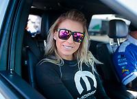 Feb 7, 2020; Pomona, CA, USA; NHRA top fuel driver Leah Pruett during qualifying for the Winternationals at Auto Club Raceway at Pomona. Mandatory Credit: Mark J. Rebilas-USA TODAY Sports