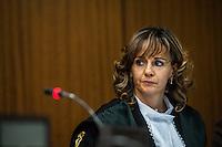 Il giudice Giulia Arcieri durante l'udienza di apertura del processo su Mafia Capitale, al Tribunale di Roma, 5 novembre 2015.<br /> Judge Giulia Arcieri attends the opening audience of the trial on Mafia Capitale, at Rome's court, 5 November 2015.<br /> UPDATE IMAGES PRESS/POOL - AGF - Alessandro Serrano'˜