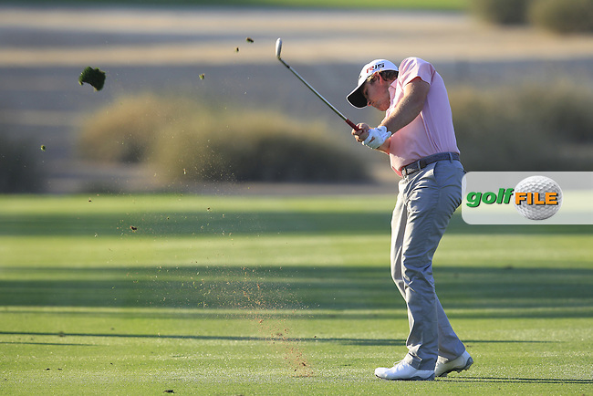 Eddie PEPPERELL (ENG) plays his 2nd shot on the 17th hole during Pink Friday's Round 2 of the 2015 Omega Dubai Desert Classic held at the Emirates Golf Club, Dubai, UAE.: Picture Eoin Clarke, www.golffile.ie: 1/30/2015