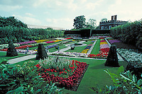 Ornamental flower display on King Henry's palace grounds. London, England Europe.