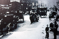 London: Historical Liverpool St. looking west, 1884. From Benny Green, THE STREETS OF LONDON.  Reference only.