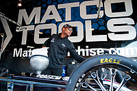 Feb 7, 2020; Pomona, CA, USA; NHRA top fuel driver Antron Brown puts nitromethane race fuel into his dragster during qualifying for the Winternationals at Auto Club Raceway at Pomona. Mandatory Credit: Mark J. Rebilas-USA TODAY Sports