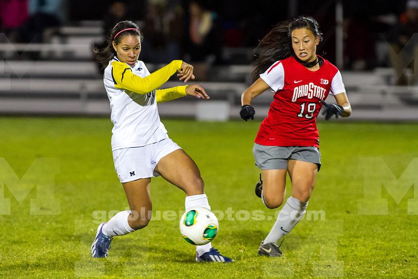 The University of Michigan women's soccer team; 2-0 victory over OSU at the UM Soccer Stadium in Ann Arbor MI. on November 2, 2013.