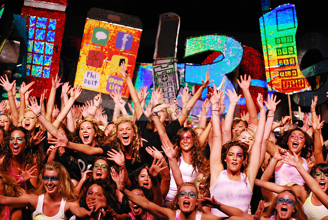 Kappa Alpha Theta sisters celebrate following their performance in the 2011 Greek Sing event held at Memorial Coliseum in Lexington, Ky. on Feb. 5, 2011. Photo by Ryan Buckler | Staff