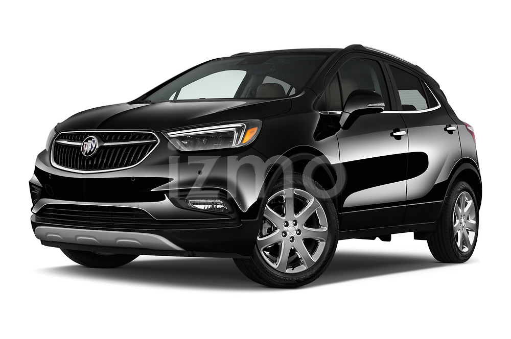 Stock pictures of low aggressive front three quarter view of 2019 Buick Encore Premium 5 Door Suv Low Aggressive