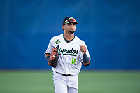Hillsboro Hops center fielder Jorge Perez (16) jogs off the field between innings of a Northwest League game against the Salem-Keizer Volcanoes at Ron Tonkin Field on September 1, 2018 in Hillsboro, Oregon. The Salem-Keizer Volcanoes defeated the Hillsboro Hops by a score of 3-1. (Zachary Lucy/Four Seam Images)