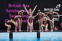 PICTURE BY ALEX BROADWAY/SWPIX.COM - Synchronised Swimming - British Gas Synchronised Swimming Championships 2012 - GL1 Leisure Centre, Gloucester, England - 25/03/12 - Reading Royal SSC compete in the Team Free Final.