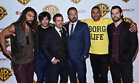 Jason Momoa + Ezra Miller + Zack Snyder + Ben Affleck + Ray Fisher + Henry Cavill @ the photocall for WB films presentation held @ The Colosseum at Caesars Palace.<br /> March 29, 2017 , Las Vegas, USA. # CINEMA CON 2017 - PHOTOCALL WB STUDIOS