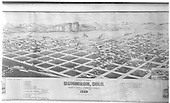 A &quot;Bird's Eye View of Gunnison&quot; perspective view by J. J. Stoner of Madison, Wisconsin.   The original D&amp;RG and DSP&amp;P depots are noted and appear at lower left.<br /> D&amp;RG / DSP&amp;P  Gunnison, CO  1882