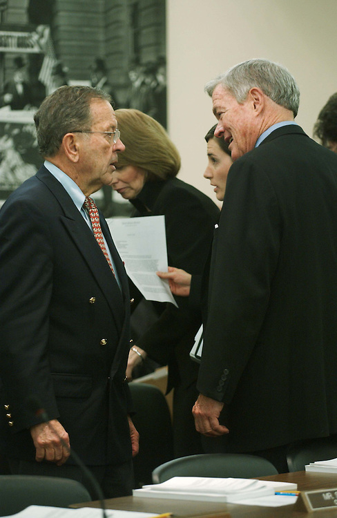 11/16/04.FOREIGN OPERATIONS APPROPRIATIONS CONFERENCE--Senate Appropriations Chairman Ted Stevens, R-Alaska, and Sen. Christopher S. Bond, R-Mo., before the joint House-Senate conference on foreign operations appropriations, which will be the vehicle for the larger package as appropriators continued Wednesday to hash out the final details of an omnibus fiscal 2005 appropriations package that Republican leaders plan to clear for the president late this week..CONGRESSIONAL QUARTERLY PHOTO BY SCOTT J. FERRELL