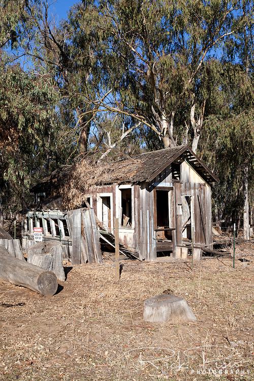 Abandoned miners cabin at the Tuolumne Gold Dredge Co. site near La Grange, California