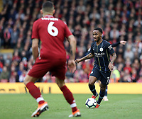 Manchester City's Raheem Sterling looks to run past Liverpool's Dejan Lovren<br /> <br /> Photographer Rich Linley/CameraSport<br /> <br /> The Premier League - Liverpool v Manchester City - Sunday 7th October 2018 - Anfield - Liverpool<br /> <br /> World Copyright &copy; 2018 CameraSport. All rights reserved. 43 Linden Ave. Countesthorpe. Leicester. England. LE8 5PG - Tel: +44 (0) 116 277 4147 - admin@camerasport.com - www.camerasport.com