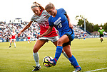 Braby, Lizzy_W1_1331<br /> <br /> BYU's Lizzy Braby drives on Ohio State's Maggie Samanich. The game between BYU and Ohio State ended in a scoreless draw at South Field on August 21, 2017.<br /> <br /> 17wSOC vs Ohio State<br /> <br /> August 21, 2017<br /> <br /> Photo by Jaren Wilkey/BYU<br /> <br /> © BYU PHOTO 2017<br /> All Rights Reserved<br /> photo@byu.edu  (801)422-7322