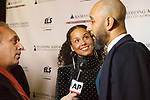 "Musician Alicia Keys and husband Kasseem Dean aka ""Swizz Beatz"" being interviewed at the Recording Academy Producers & Engineers Wing event honoring Alicia Keys and Swizz Beatz at 30 Rockefeller Plaza in New York City, during Grammy Week on January 25, 2018."