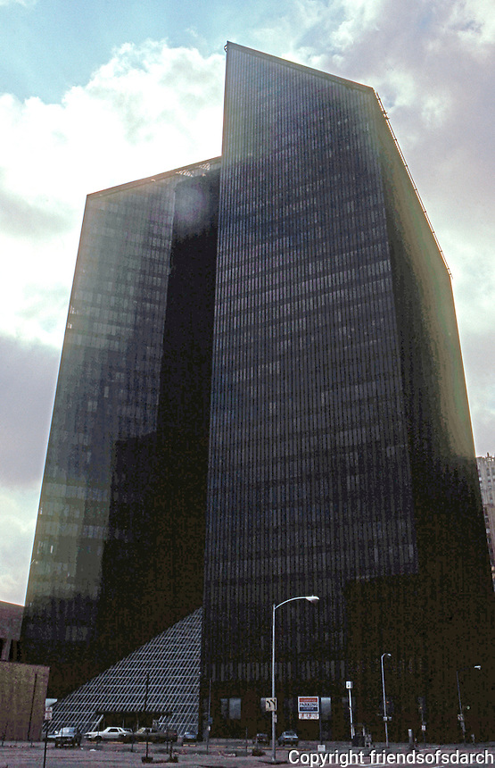 Philip Johnson: Pennzoil Place--Silhouette.  Photo '80.
