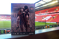 1st February 2020; Anfield, Liverpool, Merseyside, England; English Premier League Football, Liverpool versus Southampton; today's match programme at the Kop end, featuring former club legends Bob Paisley and Emlyn Hughes on the cover