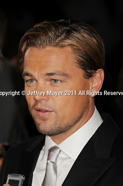 """HOLLYWOOD, CA - NOVEMBER 03: Leonardo DiCaprio attends AFI Fest 2011 Opening Night Gala World Premiere Of """"J. Edgar""""at Grauman's Chinese Theatre on November 3, 2011 in Hollywood, California."""