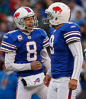 ORCHARD PARK, NY - NOVEMBER 28: Brian Moorman #8 and Rian Lindell #9 of the Buffalo Bills celebrate after kicking a field goal against the Pittsburgh Steelers during the game on November 28, 2010 at Ralph Wilson Stadium in Orchard Park, New York.  (Photo by Jared Wickerham/Getty Images)