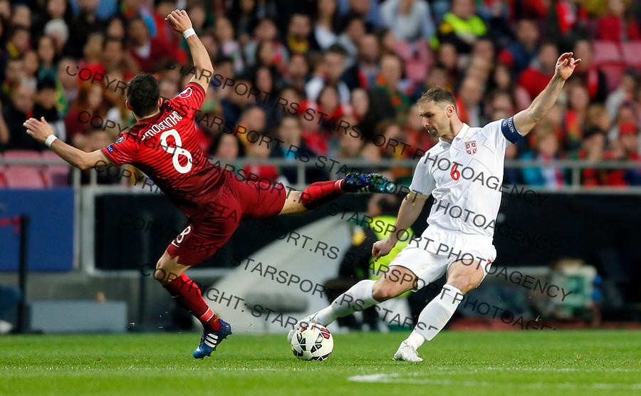 Branislav Ivanovic Uefa EURO 2016 qualifying football match between Portugal and Serbia in Lisboa, Portugal on March 29. 2015.  (credit image & photo: Pedja Milosavljevic / STARSPORT)
