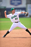 Clinton LumberKings shortstop Johnny Adams (26) throws to first base during the game against the Bowling Green Hot Rods at Ashford University Field on May 2, 2018 in Clinton, Iowa.  (Dennis Hubbard/Four Seam Images)