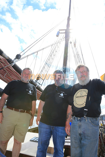 John Kierans Centre with the captain and First Mate on board the ruth at the Irish Maritime festival in Drogheda<br /> Picture:  www.newsfile.ie