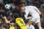 Cristiano Ronaldo of Real Madrid (R) fights for the ball with Borussia Dortmund Defender Neven Subotic (L) during the Europe Champions League 2017-18 match between Real Madrid and Borussia Dortmund at Santiago Bernabeu Stadium on 06 December 2017 in Madrid Spain. Photo by Diego Gonzalez / Power Sport Images