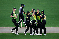 Ashton Agar of Australia celebrates with teammates for the wicket of Mark Chapman of New Zealand. New Zealand Black Caps v Australia, Final of Trans-Tasman Twenty20 Tri-Series cricket. Eden Park, Auckland, New Zealand. Wednesday 21 February 2018. © Copyright Photo: Anthony Au-Yeung / www.photosport.nz
