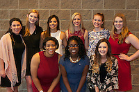 NWA Democrat Gazette/JOCELYN MURPHY<br /> University of Arkansas Delta Gamma volunteers pose before the seventh annual Brandon Burlsworth Legends Dinner, hosted at the Fort Smith Convention Center on Friday, Oct. 20, 2016. Back row: Danielle Harmon (from left), Ally Cagle, Ana Cervantes, Kate Thomas, Sarah Lindsey, Saylor Syfert. Front row: Taylor Johnson, Allyson Braggs, Alexis Baker.