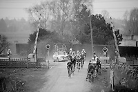 Paris-Roubaix 2013 RECON..OmegaPharma-QuickStep at the railroad crossing..