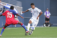 Melvin Valladares (18) tries to dribbles past Raymond Ednerson (15). Honduras defeated Haiti 1-0 during the First Round of the 2009 CONCACAF Gold Cup at Qwest Field in Seattle, Washington on July 4, 2009.