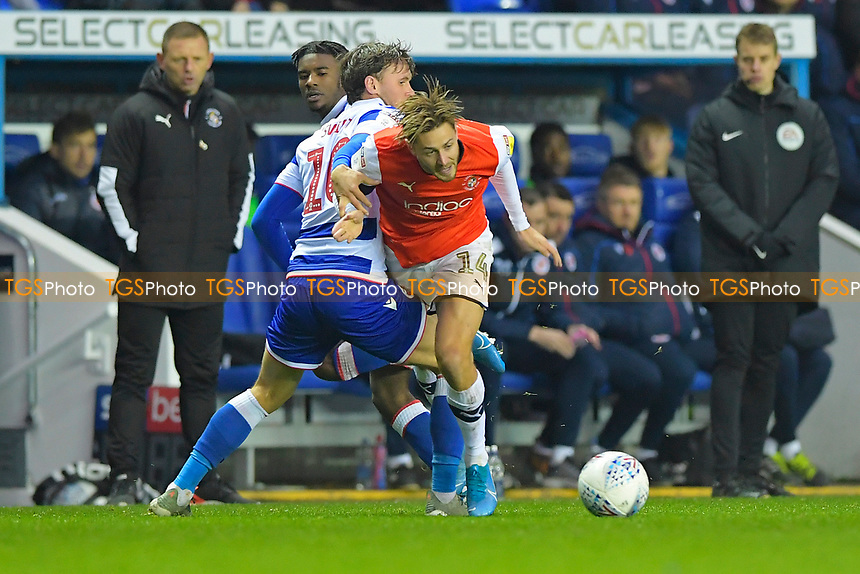 John Swift of Reading fouls Harry Cornick of Luton Town during Reading vs Luton Town, Sky Bet EFL Championship Football at the Madejski Stadium on 9th November 2019