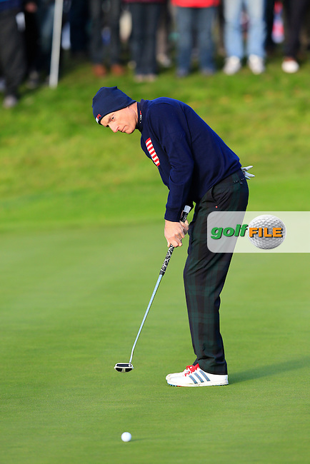 Jim Furyk (USA) takes his putt on the 3rd green during Saturday Morning's Fourball Matches between Europe's Lee Westwood and Jamie Donaldson and USA's Hunter Mahan and Jim Furyk of the Ryder Cup 2014 played on the PGA Centenary Course at the Gleneagles Hotel, Auchterarder, Scotland.: Picture Eoin Clarke, www.golffile.ie: 27th September 2014