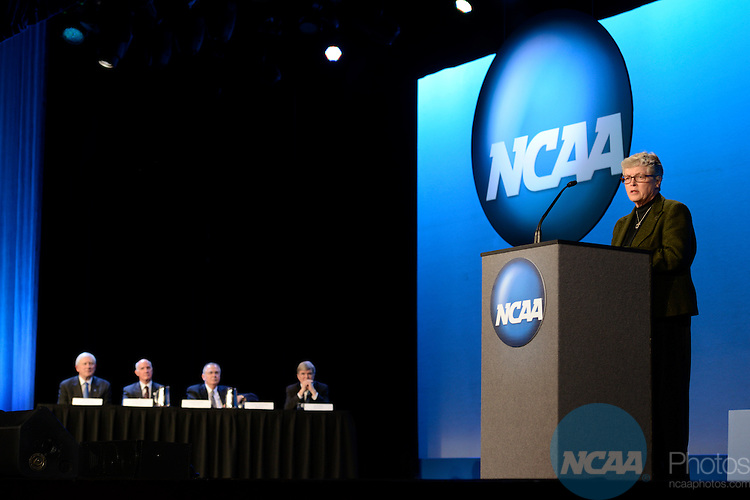 17 JAN 2013: The Opening Business Session at the 2013 NCAA Convention held at the Gaylord Texan in Grapevine, TX. Stephen Nowland/NCAA Photos.Pictured: Lou Anna Simon