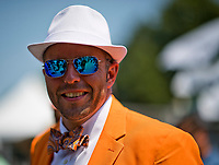 ELMONT, NY - JUNE 10: A man wears a fancy bow tie on Belmont Stakes Day at Belmont Park on June 10, 2017 in Elmont, New York (Photo by Scott Serio/Eclipse Sportswire/Getty Images)