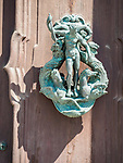 Neptune Door knocker sculpture, Architectural details, Venice, Italy