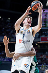 Real Madrid Luka Doncic and Panathinaikos Adreian Payne during Turkish Airlines Euroleague Quarter Finals 4th match between Real Madrid and Panathinaikos at Wizink Center in Madrid, Spain. April 27, 2018. (ALTERPHOTOS/Borja B.Hojas)