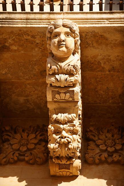 Baroque Sicilian Balcony support Sculptures of the Villadorata palace, Noto, Sicily. UNESCO World Heritage Site