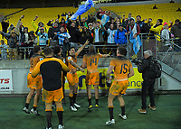 The Jaguares celebrate winning the Super Rugby match between the Hurricanes and Jaguares at Westpac Stadium in Wellington, New Zealand on Friday, 17 May 2019. Photo: Dave Lintott / lintottphoto.co.nz