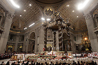 Papa Benedetto XVI celebra la Messa di Natale nella Basilica di San Pietro, Citta' del Vaticano, 24 dicembre 2012..Pope Benedict XVI celebrates the Christmas night mass in St. Peter's Basilica at the Vatican, 24 December 2012..UPDATE IMAGES PRESS/Riccardo De Luca Papa Benedetto XVI celebra la Messa di Natale nella Basilica di San Pietro, Citta' del Vaticano, 24 dicembre 2012.<br />