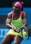 Serena Williams (USA) defeats Garbine Murguruza (ESP) 2-6, 6-3, 6-2 at the Australian Open being played at Melbourne Park in Melbourne, Australia on January 26, 2015