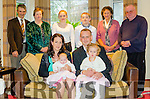 CHRISTENING CELEBRATIONS: 8 week old Teegan Smyth celebrating her christening in the arms of her mother Breda O'Shea with big sister Laoise in the arms of dad Peter Smyth with rear l-r grandparents Stephen and Breda O'Shea, godparents Laura O'Sullivan and Sean O'Shea, grandmother Joyce Smyth and Fr. Martin Sheehan.