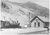 Engineer's-side view of RGS K-27 #455 switching at Telluride.<br /> RGS  Telluride, CO  Taken by Maxwell, John W. - 5/30/1948