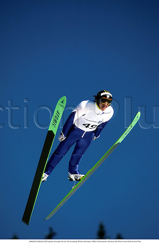 JAROSLAV SAKALA (SZE) jumps through the air, Ski Jumping, Winter Olympics 1994, Lillehammer, Norway, 94. Photo: Glyn Kirk/Action Plus....1994.Olympic Games.speed.skiing.skier.ski-jump.ski-jumping.winter sport.winter sports.wintersport.wintersports.nordic.skijump ski-jump ski jumper jumping jump