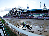 LOUISVILLE, KY - MAY 06: Always Dreaming #5, ridden by John Velazquez, passes the infamous Twin Spires en route to winning the Kentucky Derby on Kentucky Derby Day at Churchill Downs on May 6, 2017 in Louisville, Kentucky. (Photo by Scott Serio/Eclipse Sportswire/Getty Images)