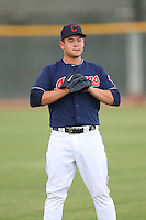 Ping-Hsueh Chen #59 of the AZL Indians during a game against the AZL Angels at the Cleveland Indians Spring Training Complex on July 13, 2014 in Goodyear, Arizona. AZL Angels defeated the AZL Indians, 6-5. (Larry Goren/Four Seam Images)